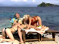 Banana and then Threesome on the Beach