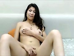Asian chinese hot girl fingering in webcam  great tits
