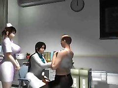 3d toon female nurse n doctor