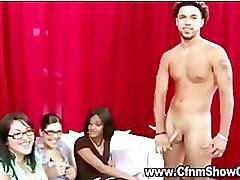 Amateur CFNM chicks check out naked guys hard cock