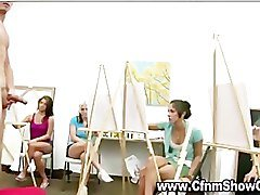 Amateur artist babes check out and draw CFNM models