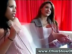 Amateur girls check out CFNM stripper and get him to cum