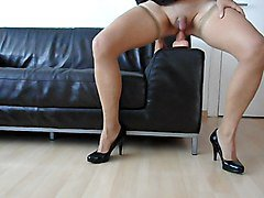 hold ups, heels and a dildo