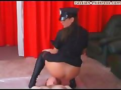mean sexy leather boot femdom & her pussy ass piss worshipping slave