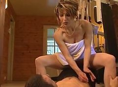 French MILF and young guy in gym. Includes anal.