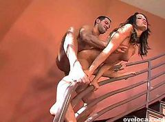 busty latin mami fucked hard in the stairs