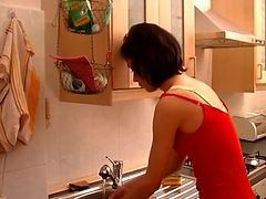 Horny Milf Fucked Hard In Kitchen !