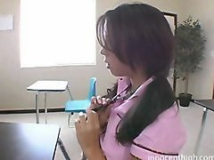Cute Brunette Chick Gets Bent Over Teachers Desk And Fucked