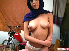 exotic arab girl wears hijab while getting tight pussy smashed