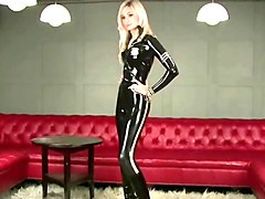 Super sexy british blonde modelling her catsuit