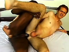 horny guy eduardo has a sexy black shemale plowing his ass on the bed