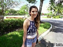 innocent looking teen rayna rose flashes tits in public