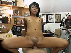 slim asian chick is sucking and fucking my dick on the massage table