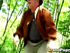 Dark hair teen doggy style woods old guy